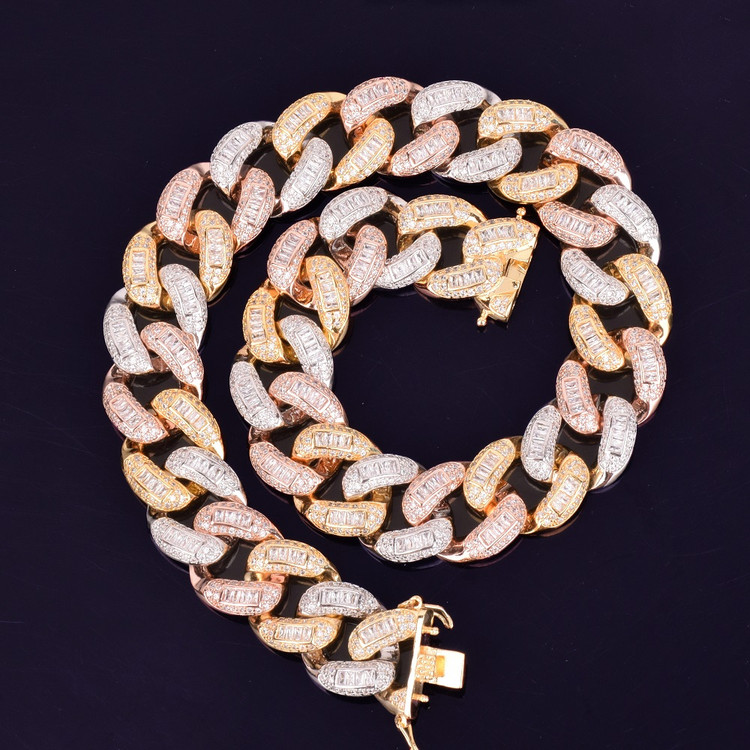Mens Baguette Miami Cuban Link 22mm Rose Gold 24k Silver Flooded Ice Chain