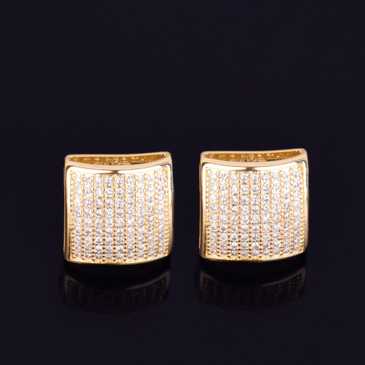 12MM Square AAA True Micro Pave 18k Gold Screw Back Big Boy Earrings