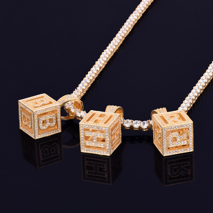 18k Gold Baby Block 3D Stereoscopic Square Letter Hip Hop Pendant With Tennis Chain Necklace