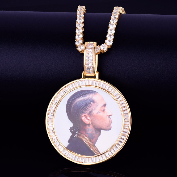 New Baguette AAA Flooded Ice Custom Made Photo Medallion Pendant Chain Necklace