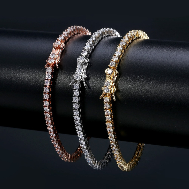 Flooded Ice 3mm 4mm AAA Cluster Stone Link Bling 1 Row Tennis Bracelets