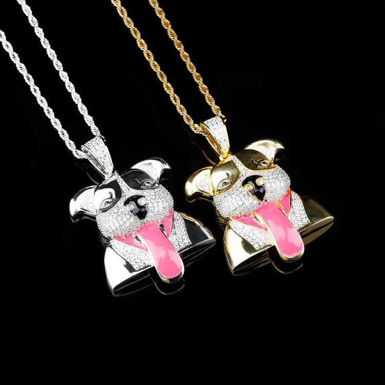 18k Gold Hip Hop Jewelry Pink Tongue AAA Micro Pave Hip Hop Dog Pendant Chain Necklace