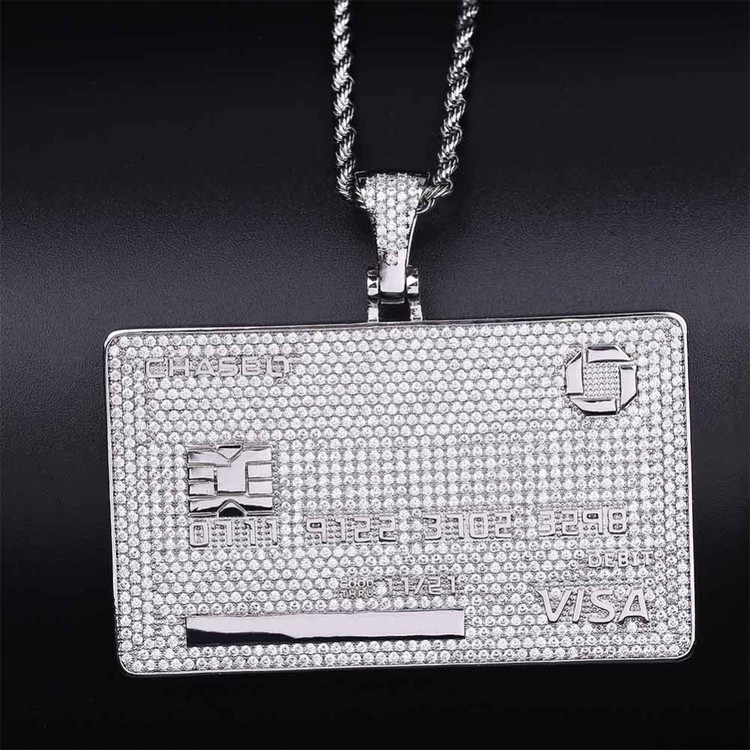 Custom Name AAA Micro Pave Flooded Ice Credit VISA Card Pendant Chain Necklace