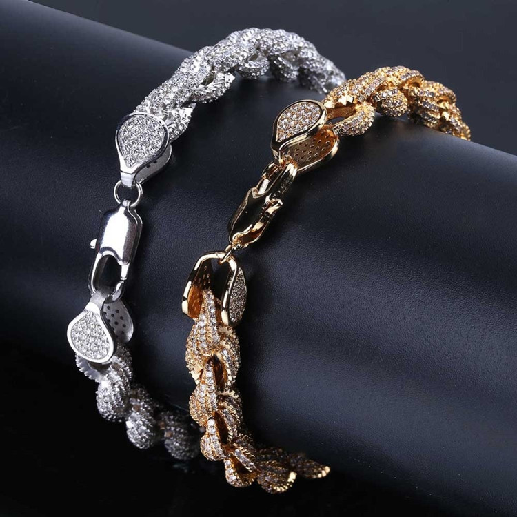Bling Flooded Ice AAA Micro Pave 8mm Rope Link Hip Hop 14k Gold Silver Chain Bracelet