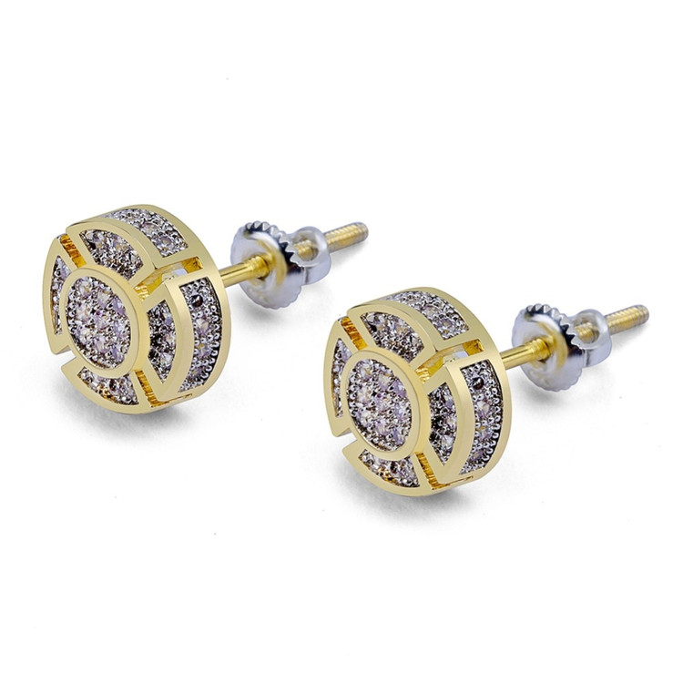 Hip Hop Gold Silver Iced Simulate Diamond Round Stud Screw Back Earrings