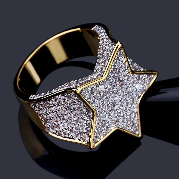 Hip Hop New Custom 14k Gold Star Struck Flooded Ice Hip Hop Ring
