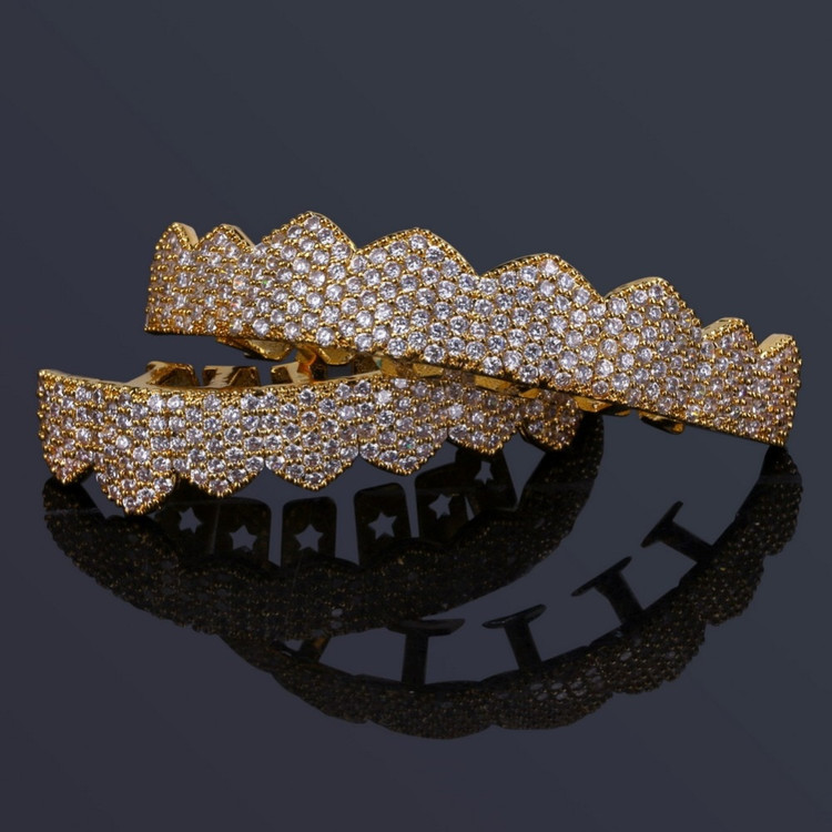 Fit AAA True Micro Pave 14k Gold 925 Silver Hip Hop Teeth Grillz Set Top & Bottom Teeth Grills