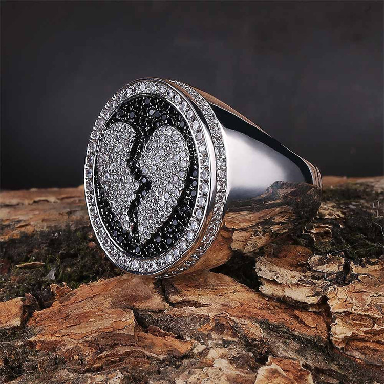Broken Heart Flooded Ice Bling AAA Micro Pave Stone Hip Hop Ring Jewelry
