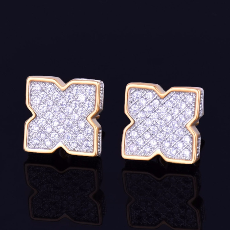 9MM Silver 14k Gold Men's Star Studded AAA Full Micro Pave Hip Hop Screw Back Earring