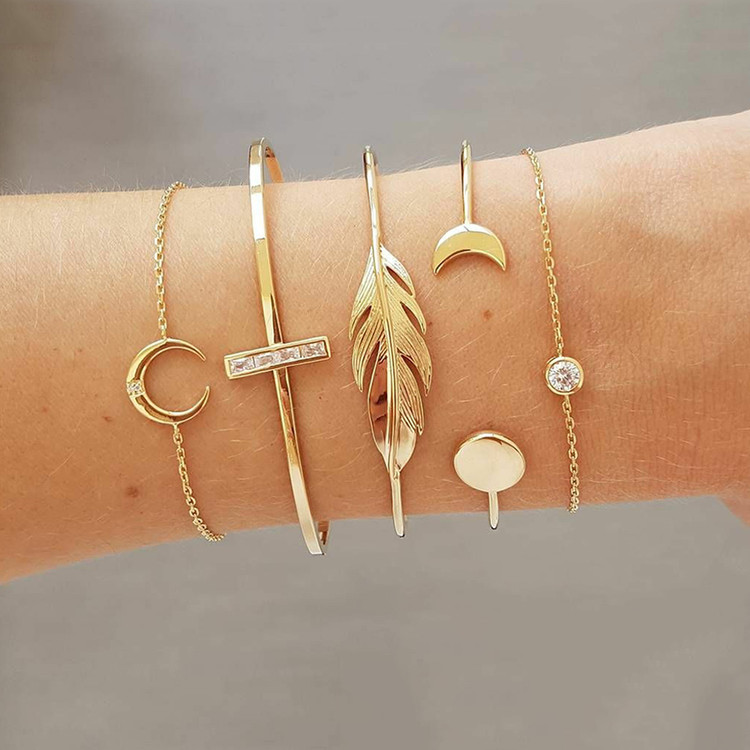 Gold Moon Leaf Crystal 5 Piece Open Cuff Charm Bracelet Set