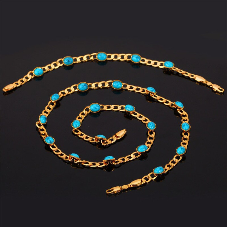 Turquoise Stone Cuban Link Ladies 14k Gold Bracelet Necklace Jewelry Set Bling Jewelz