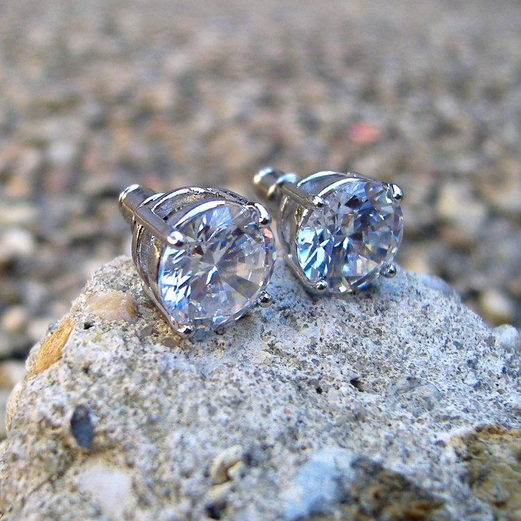 Rhodium Silver 10mm Simulated Diamond Hands Set Iced Out Earrings