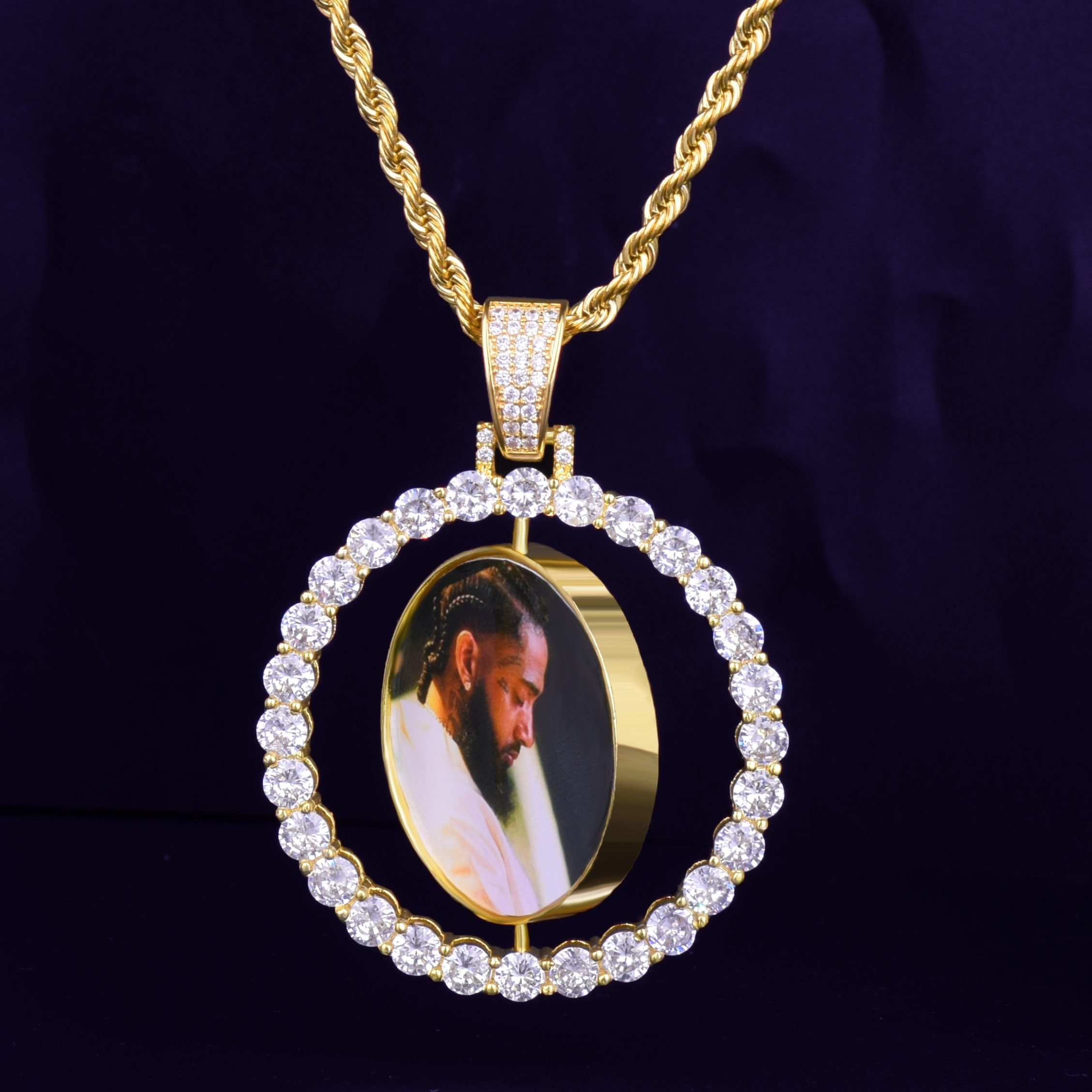 Custom Made Lad Diamond Iced Photo Rotating Double-Sided Bling Pendant  Chain Necklace