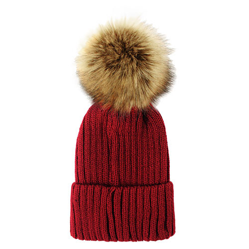 Fuzzy Ball Beanie Hat Burgundy - Bling Jewelz f32f2e8cc6eb