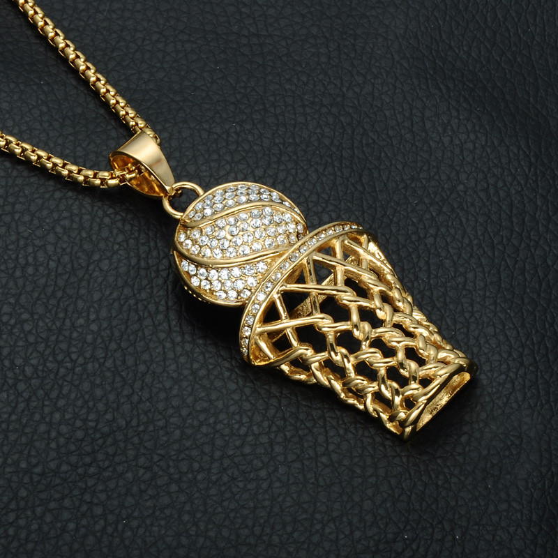 63f65b696820c Iced Out Gold Full Simulated Diamond 316L Stainless Steel Basketball Chain  Pendant