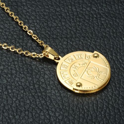 Zodiac Constellation Dog Tag Stainless Steel Men S Women S: Constellation Gold Stainless Steel 12 Zodiac Round Chain