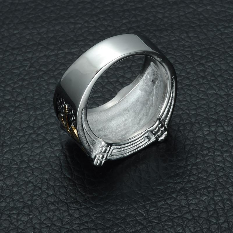 Mens Two Tone Titanium Stainless Steel Axe Ottomans Seal Kayi Ertugrul Ring