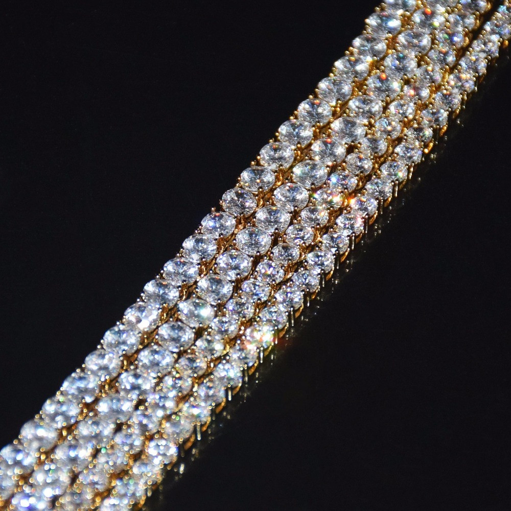Gold Silver 1 Row Iced Out Tennis Anklet Bracelet Chain Choker Necklace 5mm