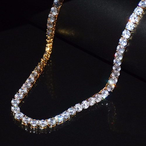 14k Gold Silver Iced Out Lab Diamond 1 Row Tennis Chain