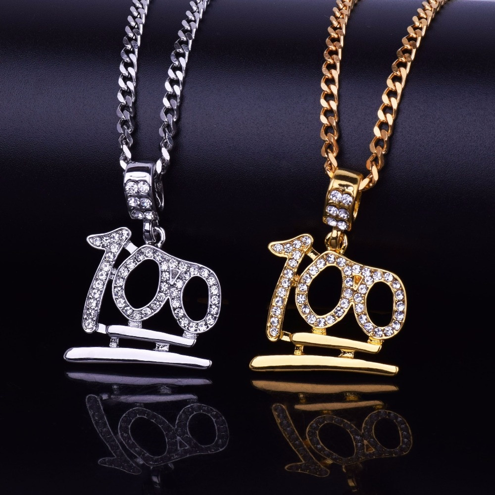 57533b61db779 14k Gold Silver Lab Diamond Emoji Keep It 100 Pendant Chain Necklace