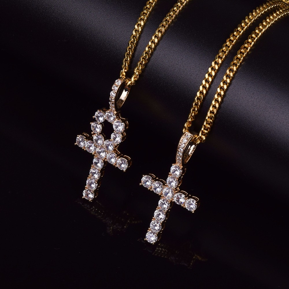 Iced Out Key To Life Ankh Cross 14k Gold Silver African Egyptian Pendant Chain Necklace Set Bling Jewelz