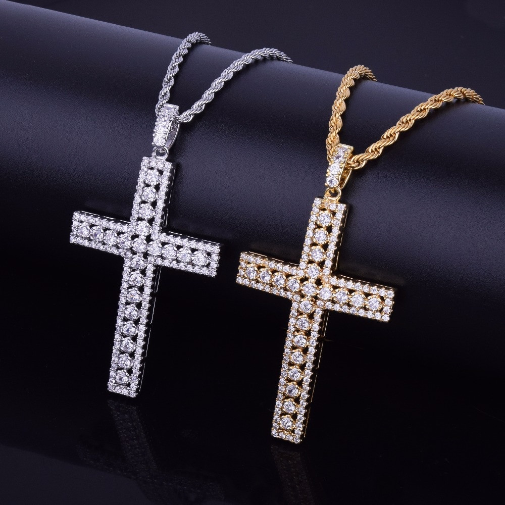 Mens 18k Gold 925 Silver Ultra Ice Silver Hip Hop Aaa Micro Pave Cross Pendant Chain Necklace Bling Jewelz