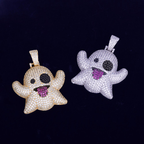 Iced Out Snapchat Emoji Ghost Lab Diamond Hip Hop Necklace