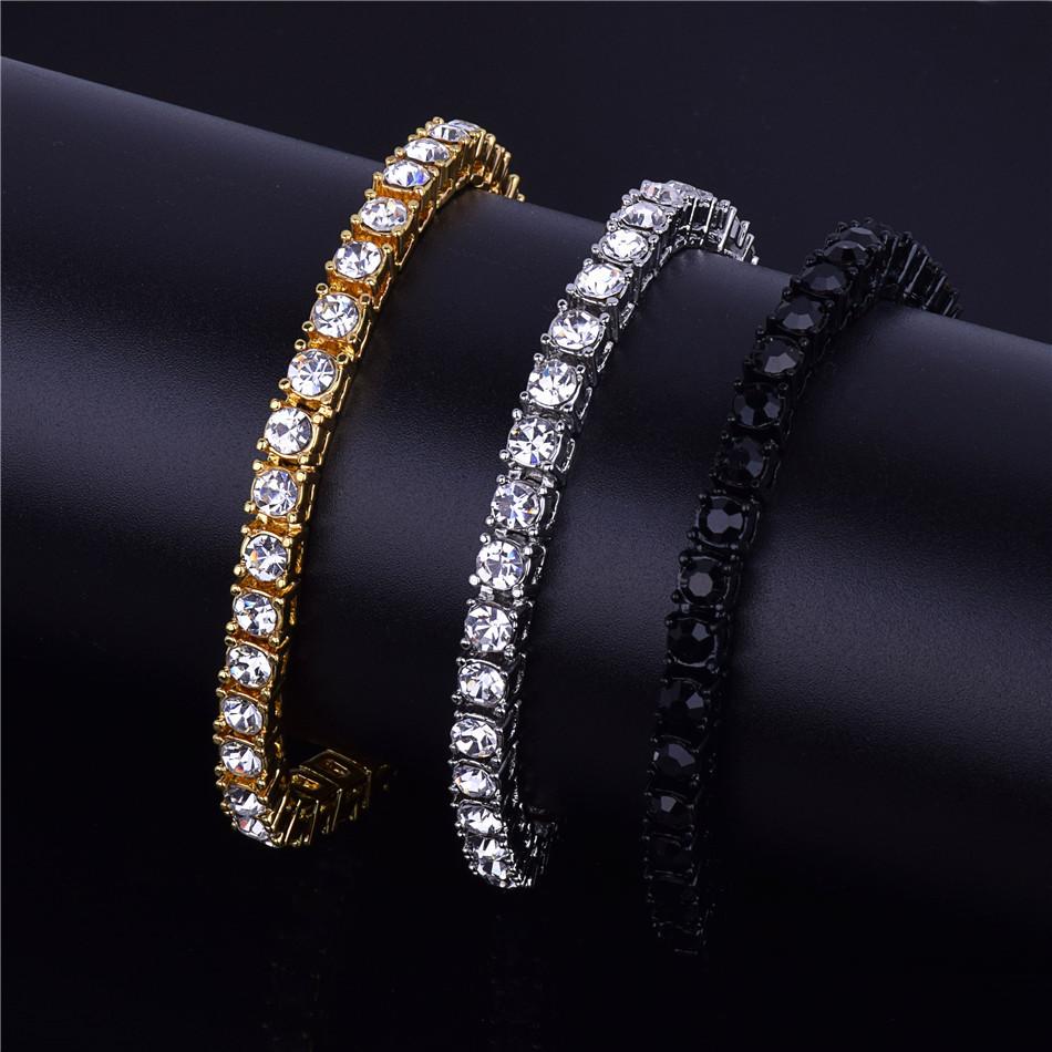 6cc28c8faf096a 1 Row Bling Tennis Bracelet Hip Hop Jewelry Men's Hip Hop 14k Rose Gold  Silver Iced Out Simulate Diamond ...