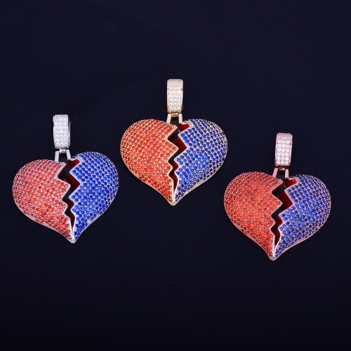 Mens Lab Diamond Iced Out Red Blue Broken Heart Breaker