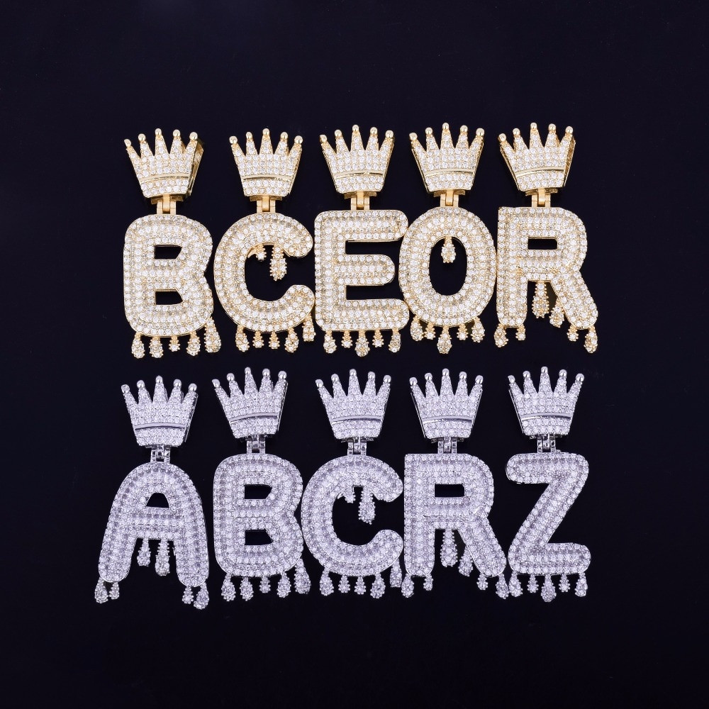 7298336c25168 Iced Out Custom Crown Bail Drip Drop Initials Bubble Letters Hip Hop  Pendant Chain Necklace