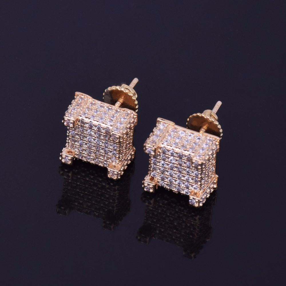 d064d470e7220 10x10mm Mens Lab Diamond Micro Pave Bling Cube Screw Back Earrings