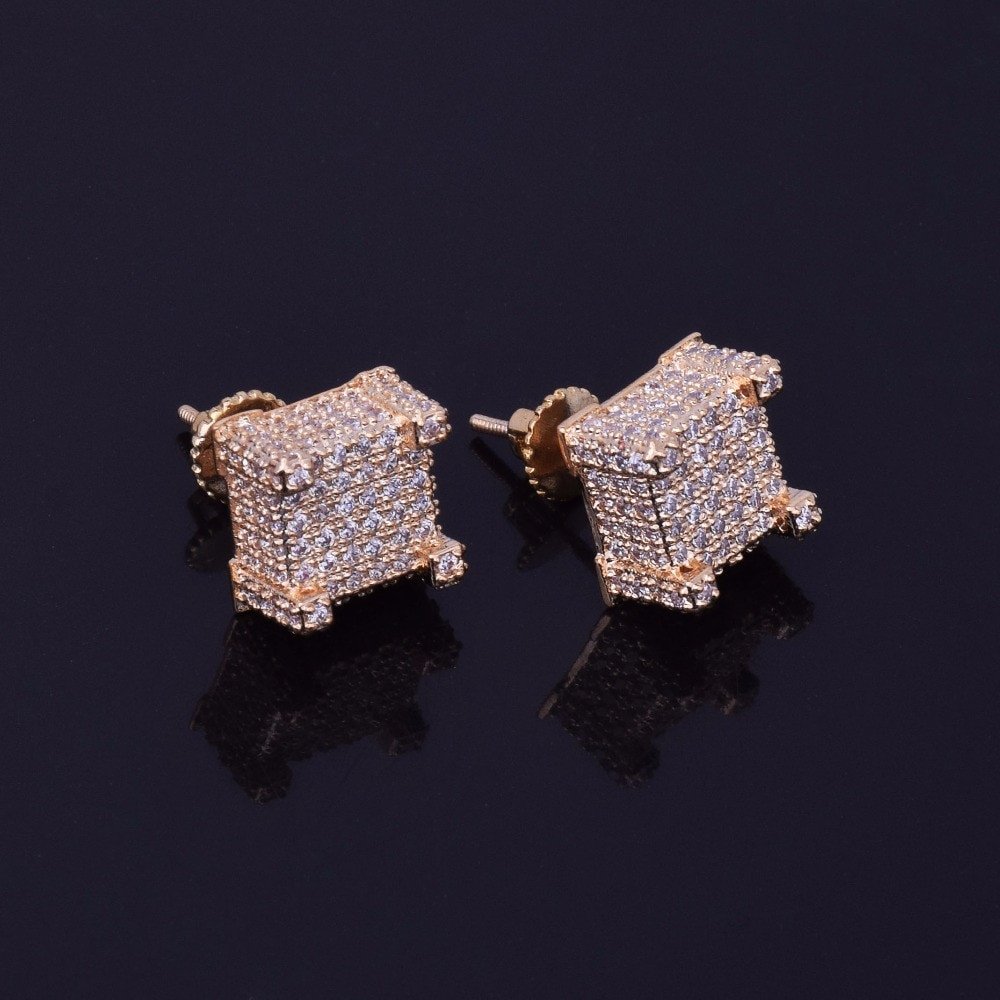 18K Gold ICED OUT Lab Diamond Micropave Square Stud Bling Hip Hop Mens Earrings