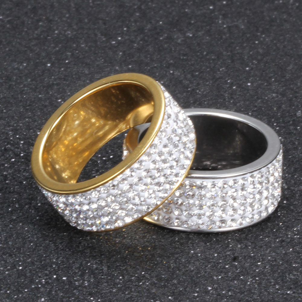 Hip Hop rings Hip Hop Full Lab Diamond Bling Iced Out Mens 14k Gold Silver  Circle Stone Titanium Stainless ... 7fea5e19cd22