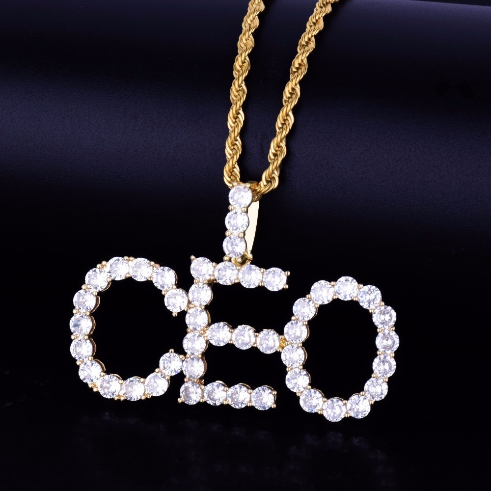 Lab Diamond Iced Out Custom Name 14k Gold Silver Tennis Chain Letters  Pendant Chain Necklace