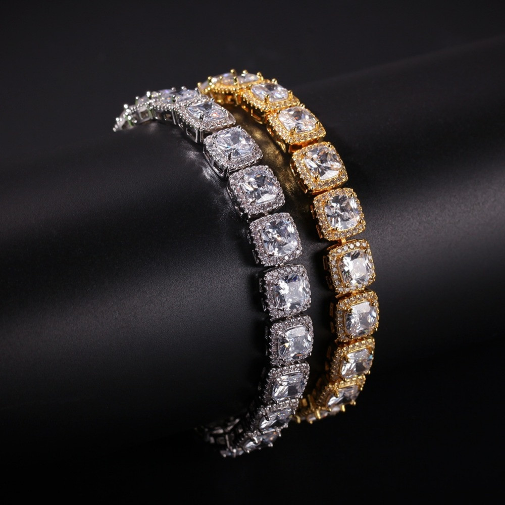 1be5b5eaf Big Boy Star Studded Bracelet 14k Gold Mens Lab diamond Bracelet Mens Iced  Out 1 Row 10mm Hip Hop ...