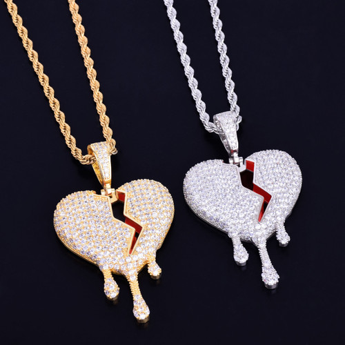 Red Oil Drip Broken Heart Lab Diamond Hip Hop Pendant