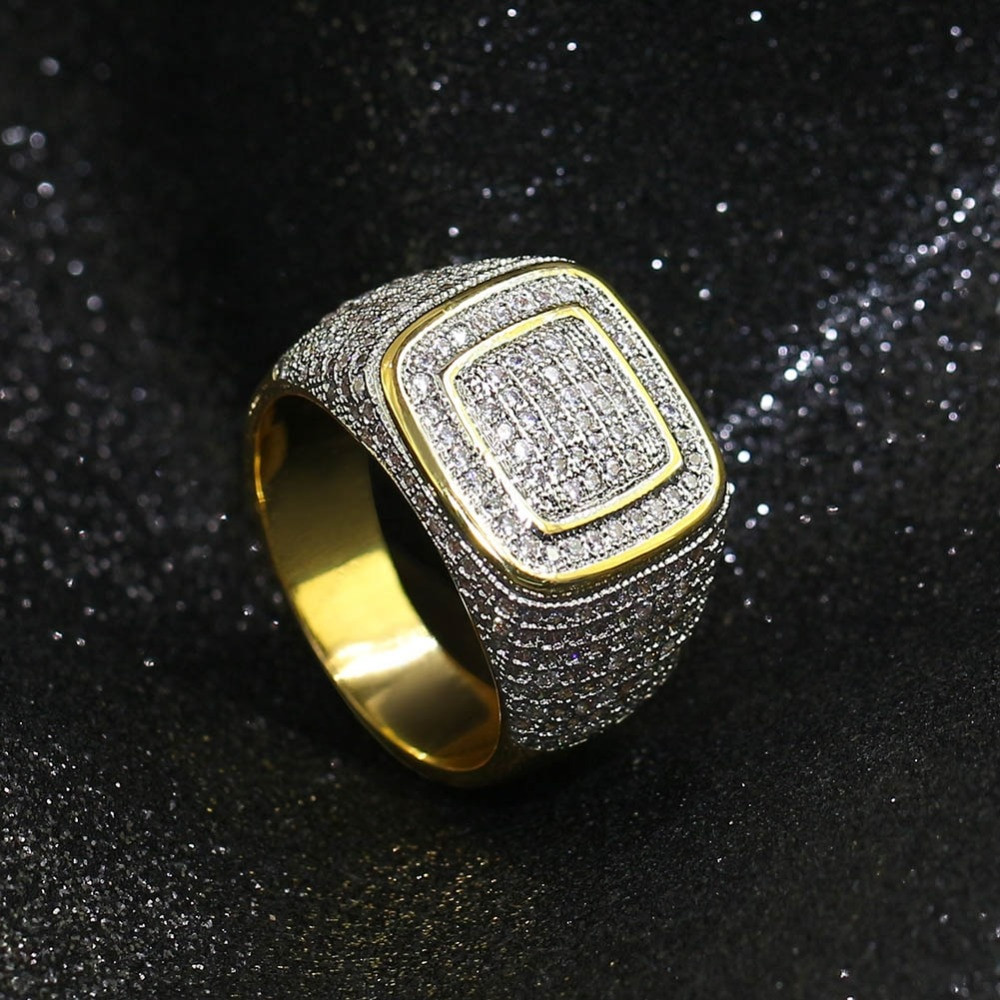 1167a4863 Mens AAA Lab Diamond 14k Gold Micro Pave Hip Hop Classic Ring ...