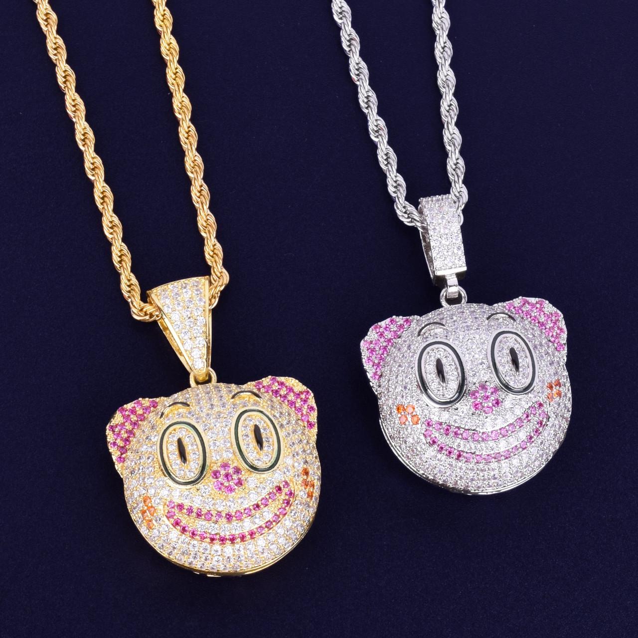 85d3771ab31f4 Hip Hop Clown Face Emoji Micro Pave Lab Diamond Pendant Chain Necklace