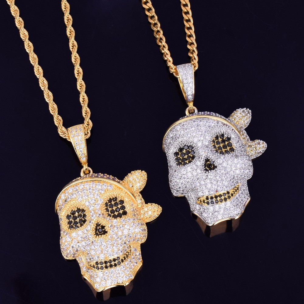 c0605bb478c45 AAA Micro Pave Skull Pirate Hip Hop 14k Gold Silver Bling Pendant Chain  Necklace