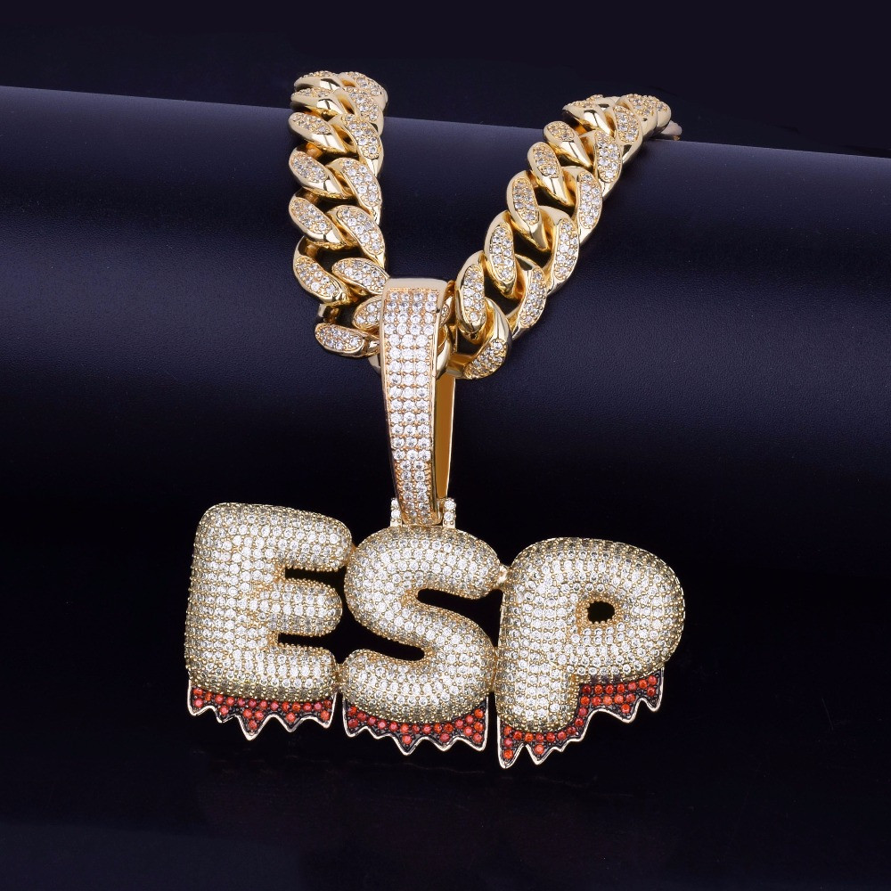 a3574481b9e32 Cuban Link Custom Name AAA Lab Diamond Red Blood Drip Letters Hip Hop  Pendant Chain Necklace