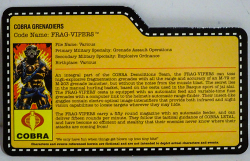 Cobra Grenadiers Frag Viper Nocturnal SDCC Exclusive GiJoe