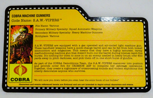 Cobra SAW Viper Filecard SDCC Nocturnal Exclusive GiJoe