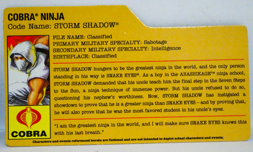 Cobra Storm Shadow Filecard GiJoe