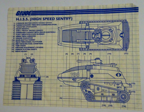 H.I.S.S High Speed Sentry Tank Blueprint 1983 GiJoe
