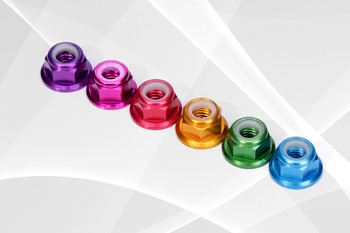 Colored Alloy M5 Flange Lock Nut   ( 5 nuts )