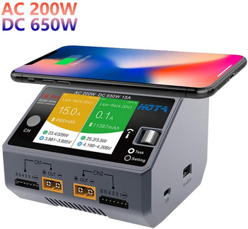 HOTA D6 Pro 325W 15A 1-6S Dual Channel AC/DC Smart Charger w/ Wireless Cellphone Charging