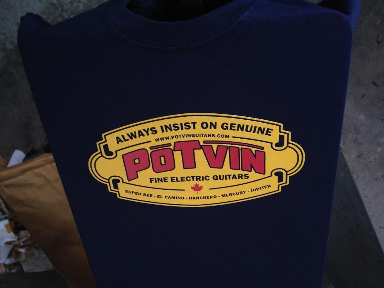 Potvin Guitars t-shirt with vintage Potvin logo