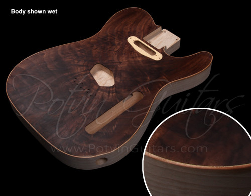 T-Style body #155 Figured walnut top inset on chambered swamp ash