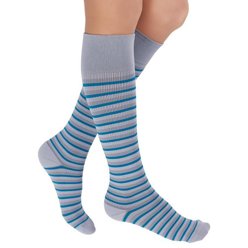 GRAY/TEAL-  Dress things up or keep it casual with our Stripe RejuvaSocks® - perfect for anyone looking to add a little something extra to their outfit. The versatile color combinations allows for these unisex socks to be worn with a wide variety of outfits. From the RejuvaSocks Collection by RejuvaHealth.