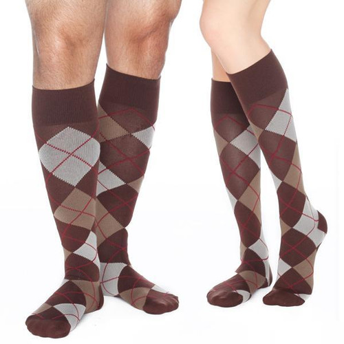 CHESTNUT-Play up your outfit with the eye-catching design of Argyle. Knit in warm neutrals for an easy match with your favorite slacks, shorts or jeans & designed with hidden graduated compression for relief of tired, swollen, achy feet and legs. From the RejuvaSocks® by RejuvaHealth® Collection.